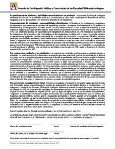 Arlington Public Schools Athletic/Co-Curricular Participation Agreement - Spanish