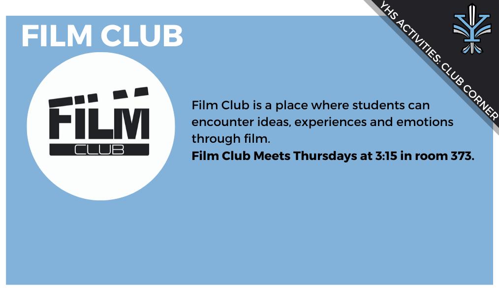 YHS Club Corner: Film Club