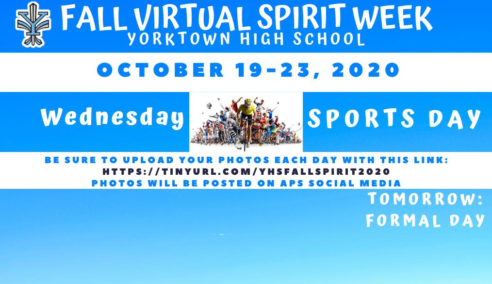 Fall Virtual Spirit Week – Wednesday: Sports Day