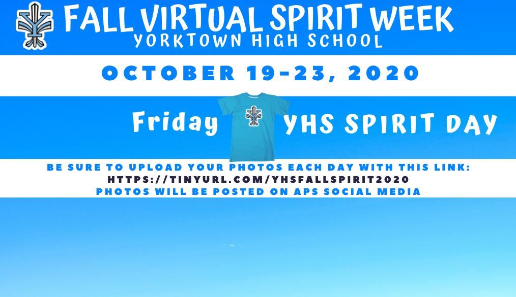 Fall Virtual Spirit Week – Friday: Yorktown Spirit Day
